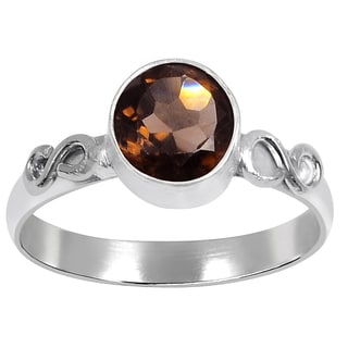 Orchid Jewelry Silver Overlay 1 1/5ct Genuine Smoky Quartz Ring