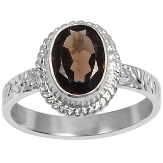 Orchid Jewelry Silver Overlay 1ct Oval-cut Smoky Quartz Ring