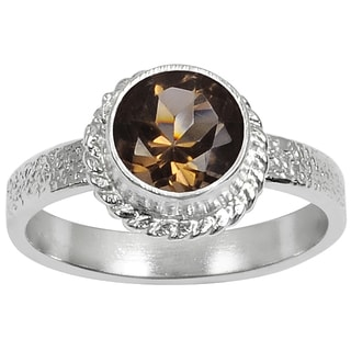 Orchid Jewelry Silver Overlay 1 1/5ct Round-cut Smoky Quartz Ring
