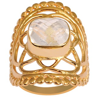 Orchid Jewelry Rose Gold Overlay 3 1/3ct Cushion-cut Gemstone Rose Quartz Ring