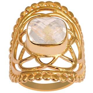Orchid Jewelry Rose Gold Overlay 3 1/3ct Cushion-cut Gemstone Rose Quartz Ring