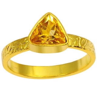 Orchid Jewelry Yellow Gold Overlay 1 1/4ct Trillion-cut Gemstone Citrine Ring