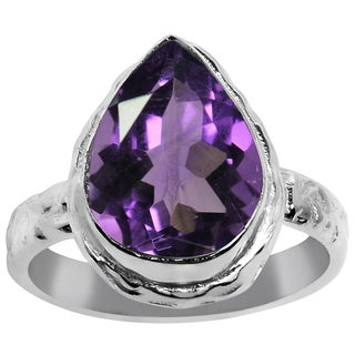 Orchid Jewelry Silver Overlay 5 3/5ct. Pear-cut Genuine Amethyst Unique Ring