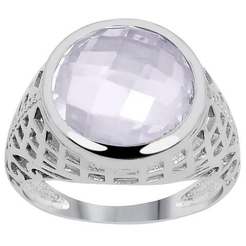 Amethyst Brass Round Fashion Ring by Fashionablez