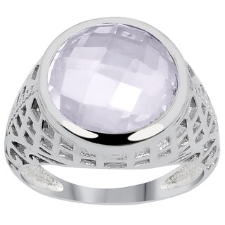 Orchid Jewelry 5 3/5 Carat Pink Amethyst Silver Overlay Fashion Ring