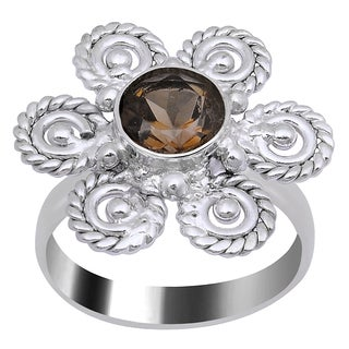 Orchid Jewelry Silver Overlay 1 1/4ct. Round-cut Bezel-set Smoky Quartz Gemstone Ring