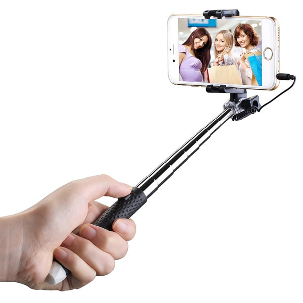 mpow black mini extendable monopod selfie stick with wire connecting for iphone 5s 6 6s. Black Bedroom Furniture Sets. Home Design Ideas