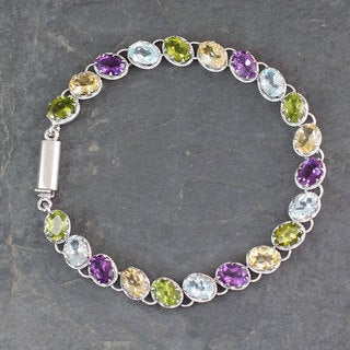Sterling Silver 'Cascading Colors' Multi-gemstone Bracelet (India)