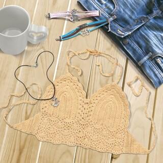 Zodaca Khaki Women Crochet Bikini Backless Halter Bra