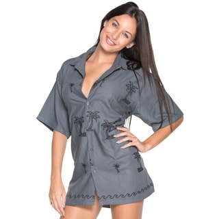 La Leela Women's Grey Button-Down Hawaiian Shirt