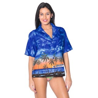 La Leela Women's Likre Palm Tree Button-Up Shirt