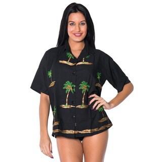 La Leela Soft Rayon Palm Tree Border Casual Button Down Camp Hawaiian Shirt Women Black