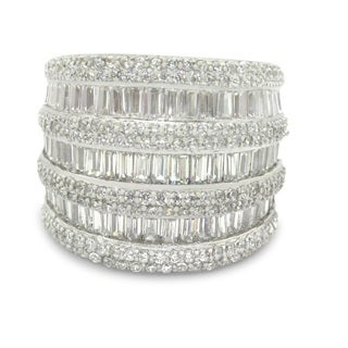 Gioelli Sterling Silver Sterling Silver Triple Decker Round and Baguette-cut Cubic Zirconia Ring