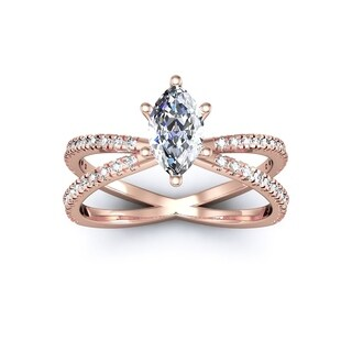 3/4ct Marquise Split Band Engagement Ring Crafted In 14K Rose Gold - White I-J