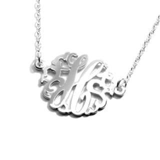 Women's Sterling Silver Single Monogram Pendant Necklace (27mm)