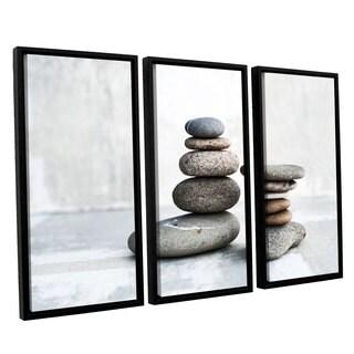 ArtWall Elena Ray 'Sea Stones' 3-piece Floater Framed Canvas Set