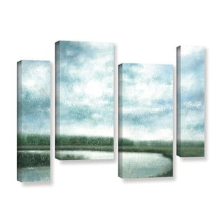 ArtWall Norman Wyatt JR's ' Cloudy Day Marsh'  4-Piece Gallery Wrapped Canvas Staggered Set