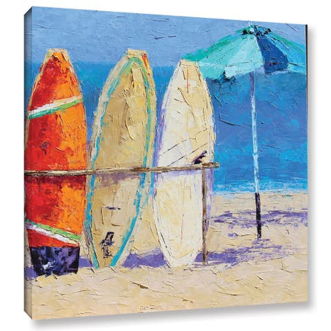 ArtWall Leslie Saeta's 'Resting On The Beach' Gallery Wrapped Canvas