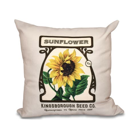 Sunflower Floral Print 20-inch Throw Pillow