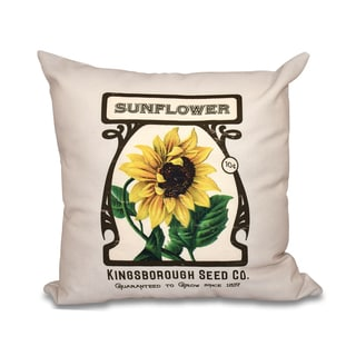 Sunflower Floral Print 20-inch Throw Pillow