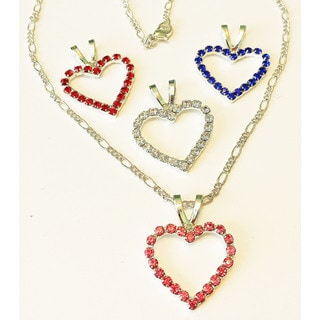 Crystal Heart Necklace with 4 Pendants