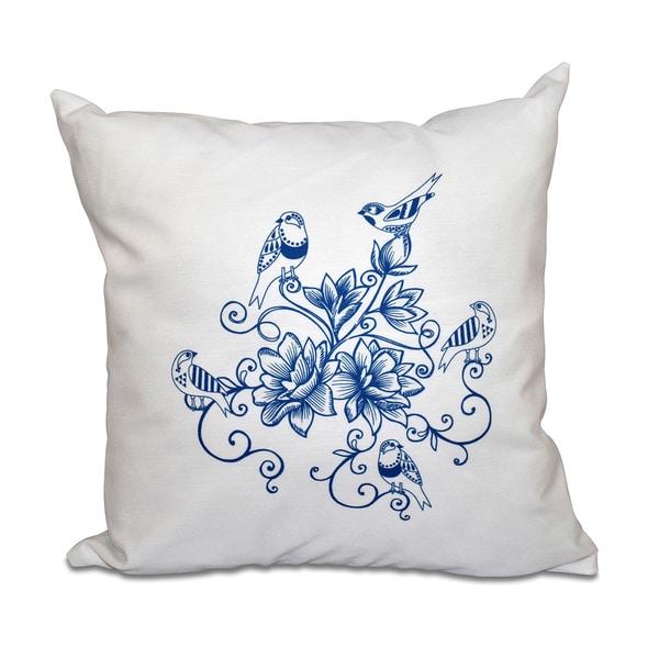 Five Little Birds Floral Print 20-inch Throw Pillow