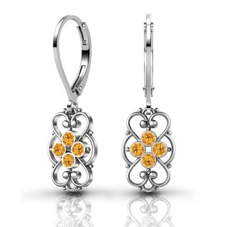 Lucia Costin .925 Sterling Silver Yellow Crystal Earrings