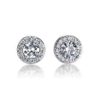 Andrew Charles 14k White Gold 1/2ct TDW Diamond Halo Earrings (H-I, SI1-SI2)