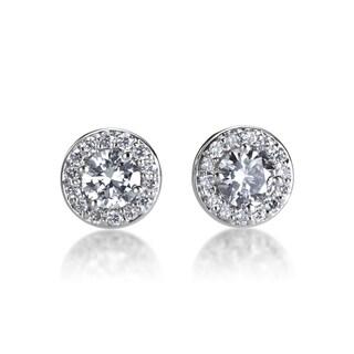 Andrew Charles 14k White Gold 1/2ct TDW Diamond Halo Earrings