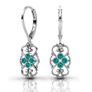 Lucia Costin Sterling Silver Turquoise-green Crystal Earrings with Dots