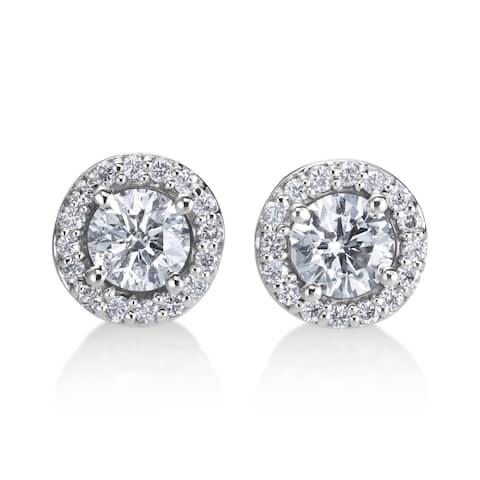 SummerRose 14k White Gold 3/4ct TDW Diamond Halo Earrings - White H-I