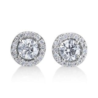 Andrew Charles 14k White Gold 3/4ct TDW Diamond Halo Earrings (H-I, SI1-SI2)