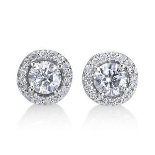 Andrew Charles 14k White Gold 3/4ct TDW Diamond Halo Earrings