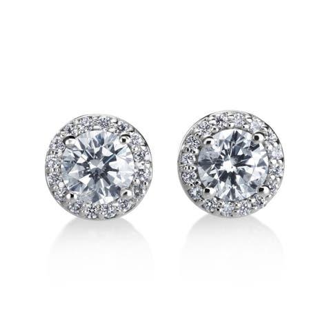 SummerRose 14k White Gold 1ct TDW Diamond Halo Earring - White H-I