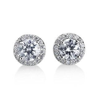 Andrew Charles 14k White Gold 1ct TDW Diamond Halo Earring