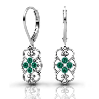Lucia Costin Sterling Silver Green Crystal Earrings with Lovely Details