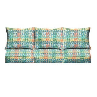 Blue Green Squares Indoor/ Outdoor Corded Sofa Cushion Set