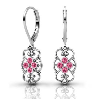 Lucia Costin Sterling Silver Pink Crystal Earrings with Fancy Dots