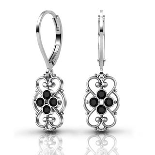 Lucia Costin .925 Sterling Silver Black Crystal Earrings