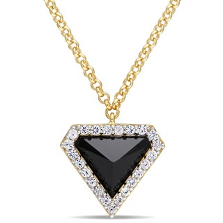 V1969 ITALIA Black Agate and White Sapphire Prism Necklace in 18k Yellow Gold Plated Sterling Silver