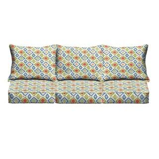 Green/ Red Diamonds Indoor/ Outdoor Corded Sofa Cushion Set
