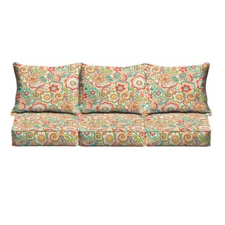 Red Rio Floral Indoor/ Outdoor Corded Sofa Cushion Set