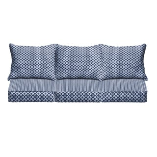 Navy Chainlink Indoor/ Outdoor Corded Sofa Cushion Set
