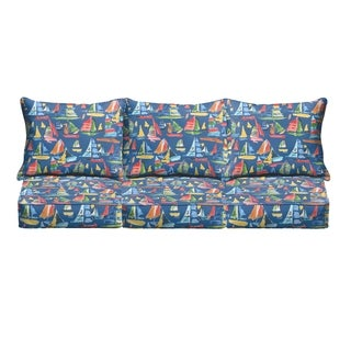 Blue Sailboats Indoor/ Outdoor Corded Sofa Cushion Set