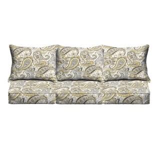 Grey Gold Paisley Indoor/ Outdoor Corded Sofa Cushion Set