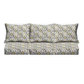 Grey/ Gold Diamonds Indoor/ Outdoor Corded Sofa Cushion Set