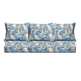 Blue Grey Abstract Indoor/ Outdoor Corded Sofa Cushion Set