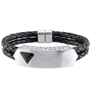 V1969 ITALIA Men's Black Agate Prism Bangle Bracelet in Sterling Silver