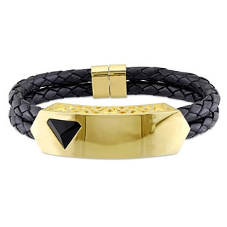 V1969 ITALIA Men's Black Agate Prism Bangle Bracelet in 18k Yellow Gold Plated Sterling Silver