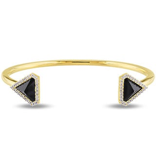 V1969 ITALIA Black Agate and White Sapphire Prism Cuff Bangle Bracelet in 18k Yellow Gold Plated Sterling Silver